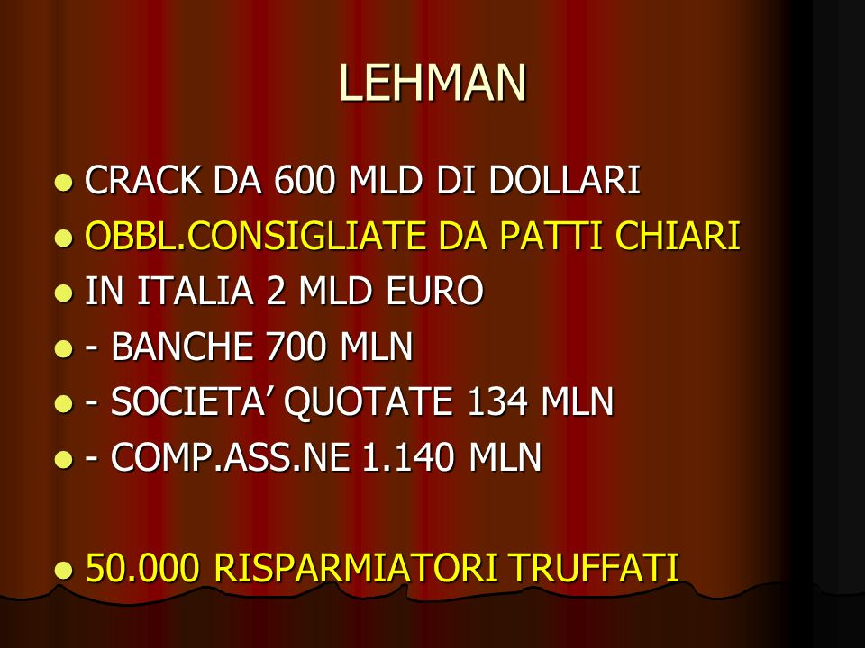 LEHMAN CRACK DA 600 MLD DI DOLLARI CRACK DA 600 MLD DI DOLLARI OBBL.CONSIGLIATE DA PATTI CHIARI OBBL.CONSIGLIATE DA PATTI CHIARI IN ITALIA 2 MLD EURO