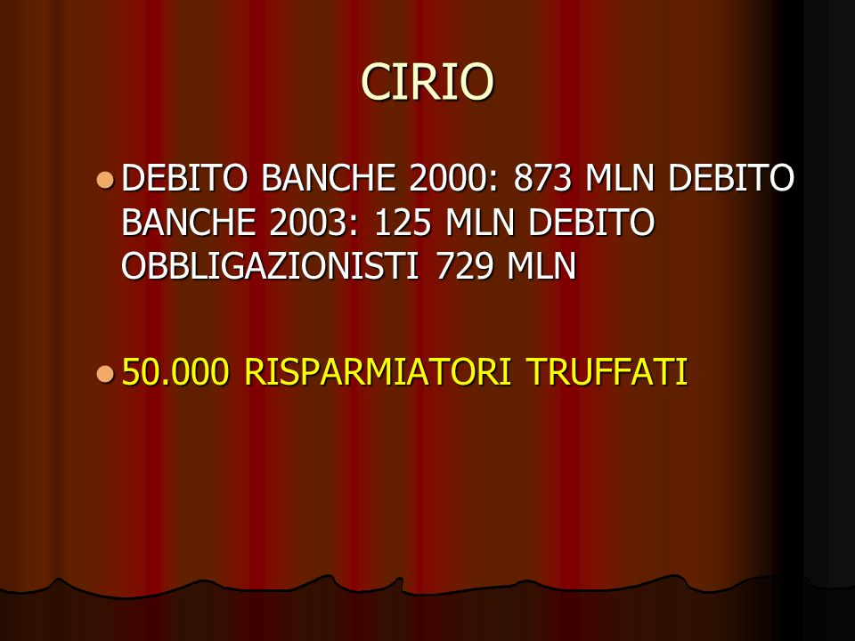 CIRIO DEBITO BANCHE 2000: 873 MLN DEBITO BANCHE 2003: 125 MLN DEBITO OBBLIGAZIONISTI 729 MLN DEBITO BANCHE 2000: 873 MLN DEBITO BANCHE 2003: 125 MLN D