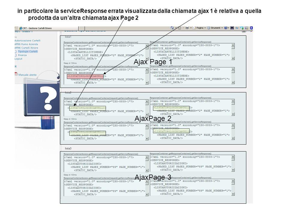 in particolare la serviceResponse errata visualizzata dalla chiamata ajax 1 è relativa a quella prodotta da unaltra chiamata ajax Page 2 Ajax Page 1 A