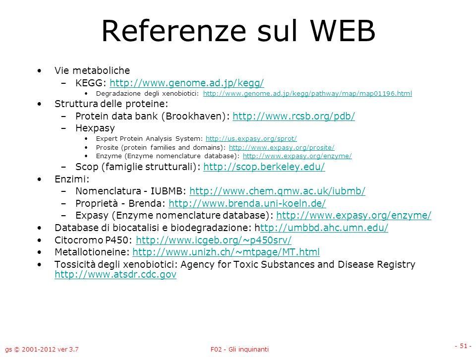 gs © 2001-2012 ver 3.7F02 - Gli inquinanti - 51 - Referenze sul WEB Vie metaboliche –KEGG: http://www.genome.ad.jp/kegg/http://www.genome.ad.jp/kegg/