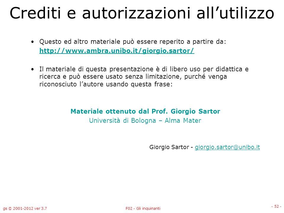 gs © 2001-2012 ver 3.7F02 - Gli inquinanti - 52 - Crediti e autorizzazioni allutilizzo Questo ed altro materiale può essere reperito a partire da: htt