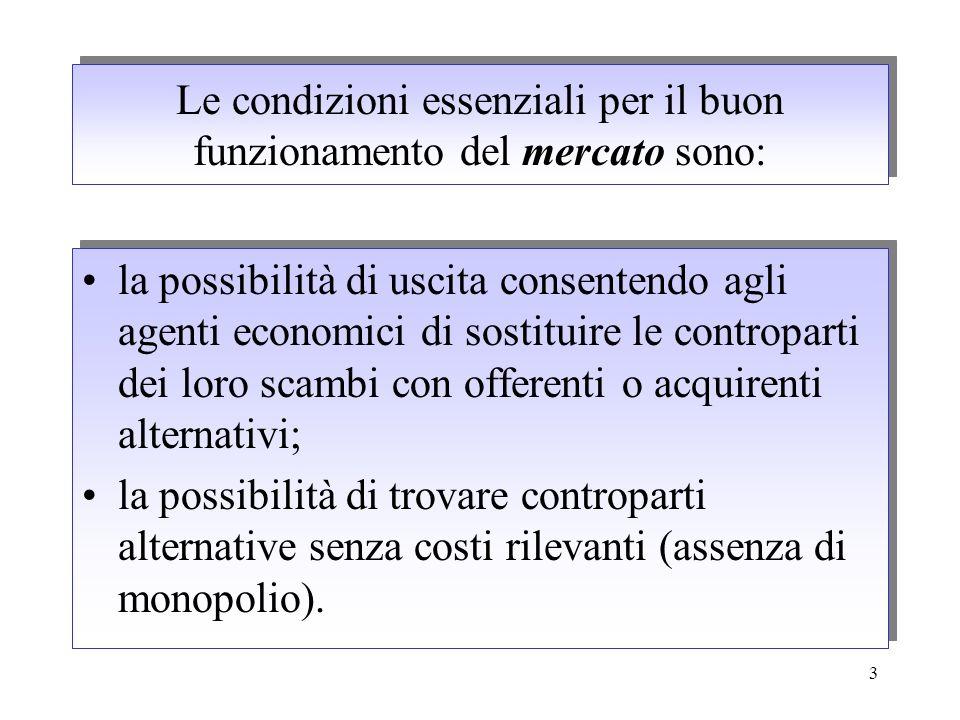 3 Le condizioni essenziali per il buon funzionamento del mercato sono: la possibilità di uscita consentendo agli agenti economici di sostituire le con