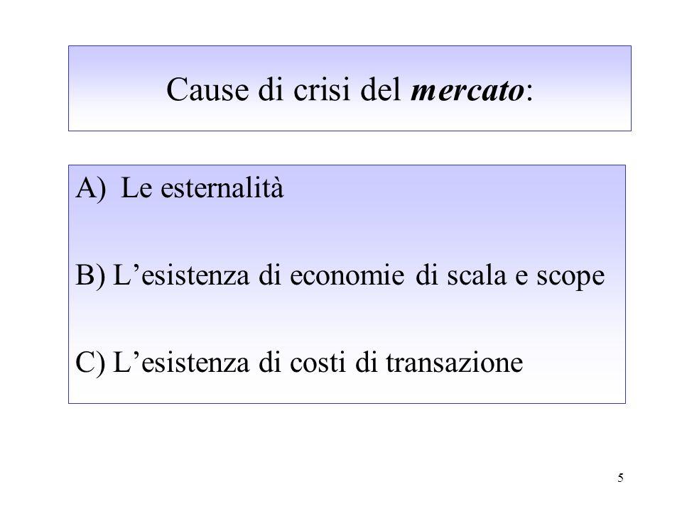 5 Cause di crisi del mercato: A)Le esternalità B) Lesistenza di economie di scala e scope C) Lesistenza di costi di transazione