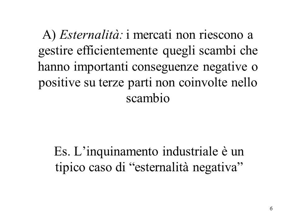 6 A) Esternalità: i mercati non riescono a gestire efficientemente quegli scambi che hanno importanti conseguenze negative o positive su terze parti n