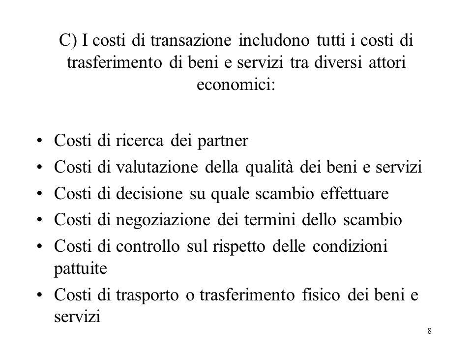 8 C) I costi di transazione includono tutti i costi di trasferimento di beni e servizi tra diversi attori economici: Costi di ricerca dei partner Cost