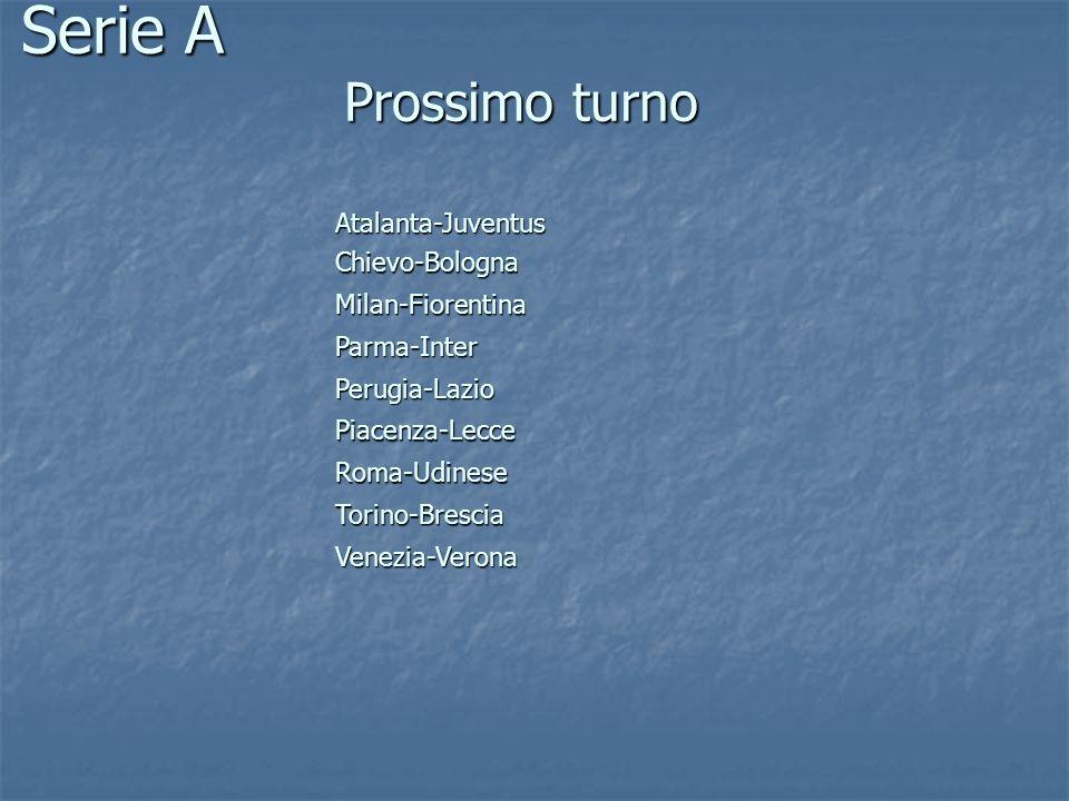 Prossimo turno Atalanta-Juventus Chievo-Bologna Milan-Fiorentina Parma-Inter Perugia-Lazio Piacenza-Lecce Roma-Udinese Torino-Brescia Venezia-Verona