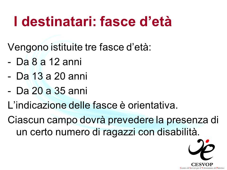 I destinatari: fasce detà Vengono istituite tre fasce detà: -Da 8 a 12 anni -Da 13 a 20 anni -Da 20 a 35 anni Lindicazione delle fasce è orientativa.