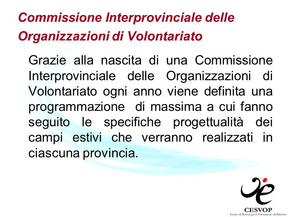 Commissione Interprovinciale delle Organizzazioni di Volontariato Grazie alla nascita di una Commissione Interprovinciale delle Organizzazioni di Volo