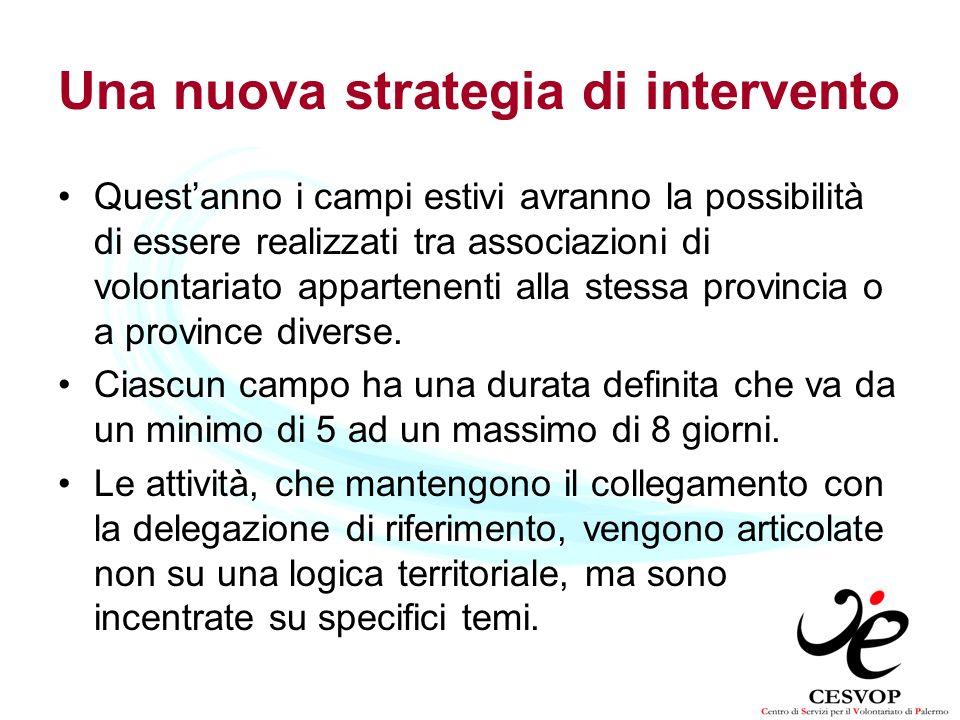 Una nuova strategia di intervento Questanno i campi estivi avranno la possibilità di essere realizzati tra associazioni di volontariato appartenenti a