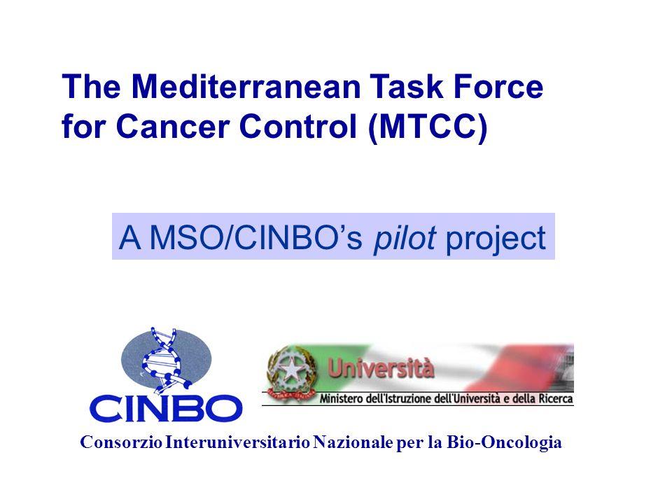Consorzio Interuniversitario Nazionale per la Bio-Oncologia A MSO/CINBOs pilot project The Mediterranean Task Force for Cancer Control (MTCC)