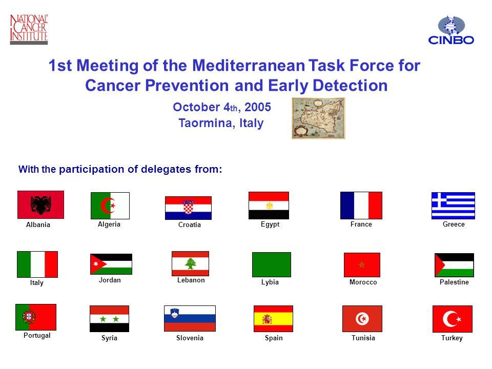 Algeria Croatia EgyptFranceGreece Italy JordanLebanon LybiaMorocco Portugal SyriaSloveniaSpainTunisiaTurkey Palestine 1st Meeting of the Mediterranean