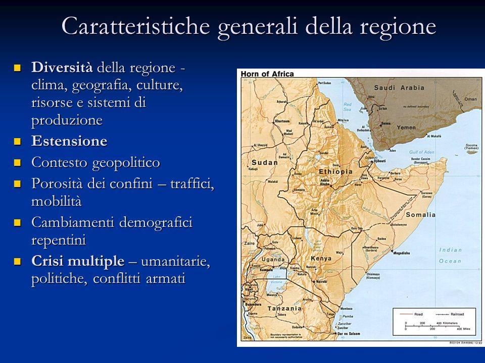 Religioni del Corno dAfrica Islam (sunnita): Somalia 100% Somalia 100% Gibuti 95% Gibuti 95% Sudan 70% Sudan 70% Etiopia 50% (?) Etiopia 50% (?) Eritrea 50% (?) Eritrea 50% (?) Kenya 15% Kenya 15% Uganda 15% Uganda 15%Cristiani: Copti (Etiopia, Eritrea) Copti (Etiopia, Eritrea) Protestanti, Cattolici Protestanti, Cattolici ( alcuni insediamenti in Kenya e Uganda) ( alcuni insediamenti in Kenya e Uganda)