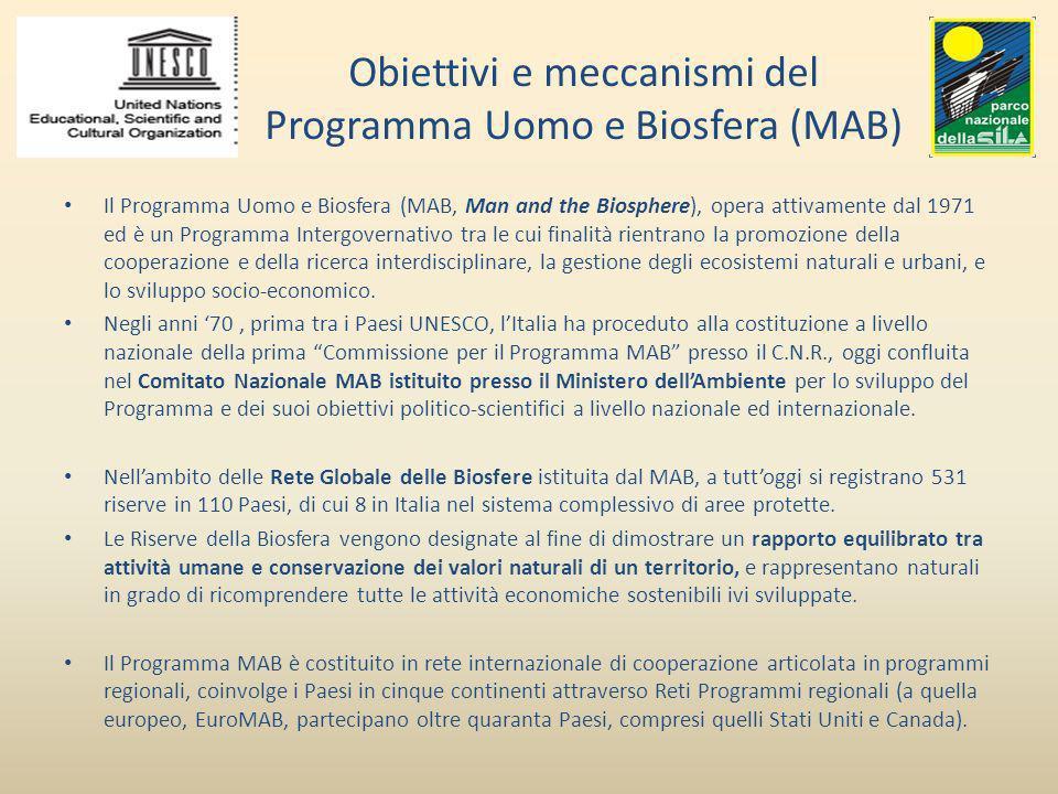 Obiettivi e meccanismi del Programma Uomo e Biosfera (MAB) Il Programma Uomo e Biosfera (MAB, Man and the Biosphere), opera attivamente dal 1971 ed è