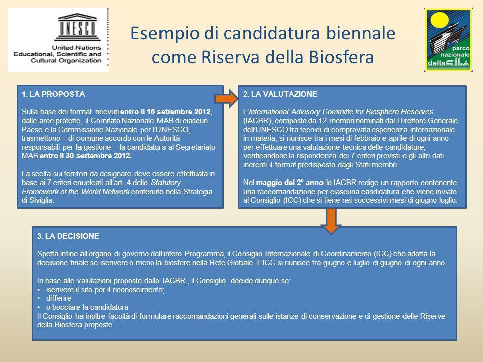 Esempio di candidatura biennale come Riserva della Biosfera 1. LA PROPOSTA Sulla base dei format ricevuti entro il 15 settembre 2012, dalle aree prote