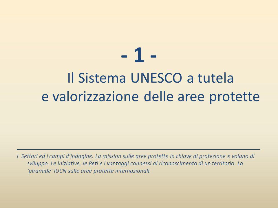 - 1 - Il Sistema UNESCO a tutela e valorizzazione delle aree protette ______________________________________________________________________ I Settori
