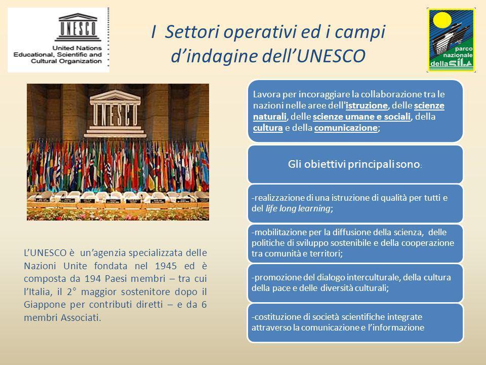 I Settori operativi ed i campi dindagine dellUNESCO Lavora per incoraggiare la collaborazione tra le nazioni nelle aree dell'istruzione, delle scienze