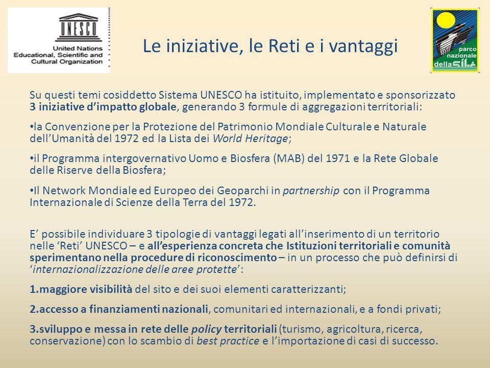 Il riconoscimento di un sito nel Sistema UNESCO ne muta la cornice di riferimento, ed allarga il posizionamento dal sistema nazionale di aree protette a piattaforme di rilevanza regionale e mondiale come evidenziato nella piramide IUCN.