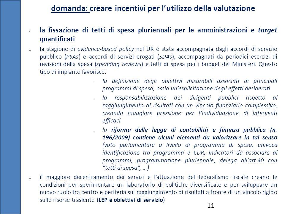 domanda: creare incentivi per lutilizzo della valutazione 11 la fissazione di tetti di spesa pluriennali per le amministrazioni e target quantificati