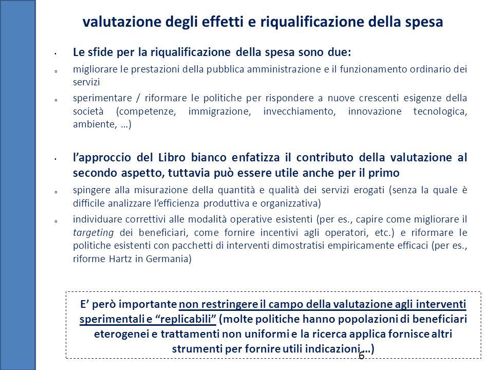 valutazione degli effetti e riqualificazione della spesa 6 Le sfide per la riqualificazione della spesa sono due: o migliorare le prestazioni della pu
