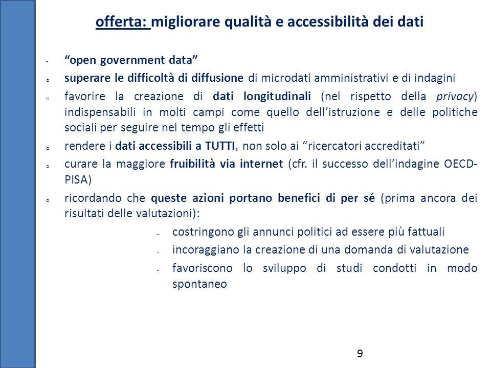 offerta: migliorare qualità e accessibilità dei dati 9 open government data o superare le difficoltà di diffusione di microdati amministrativi e di in