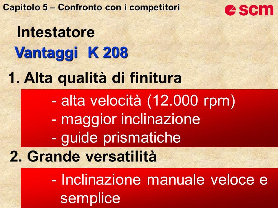 Vantaggi K 208 1. Alta qualità di finitura 2. Grande versatilità - alta velocità (12.000 rpm) - maggior inclinazione - guide prismatiche - Inclinazion