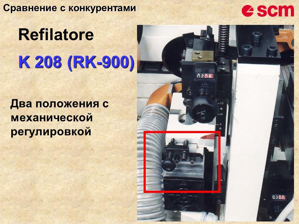 K 208 (RK-900) Два положения с механической регулировкой Сравнение с конкурентами Refilatore