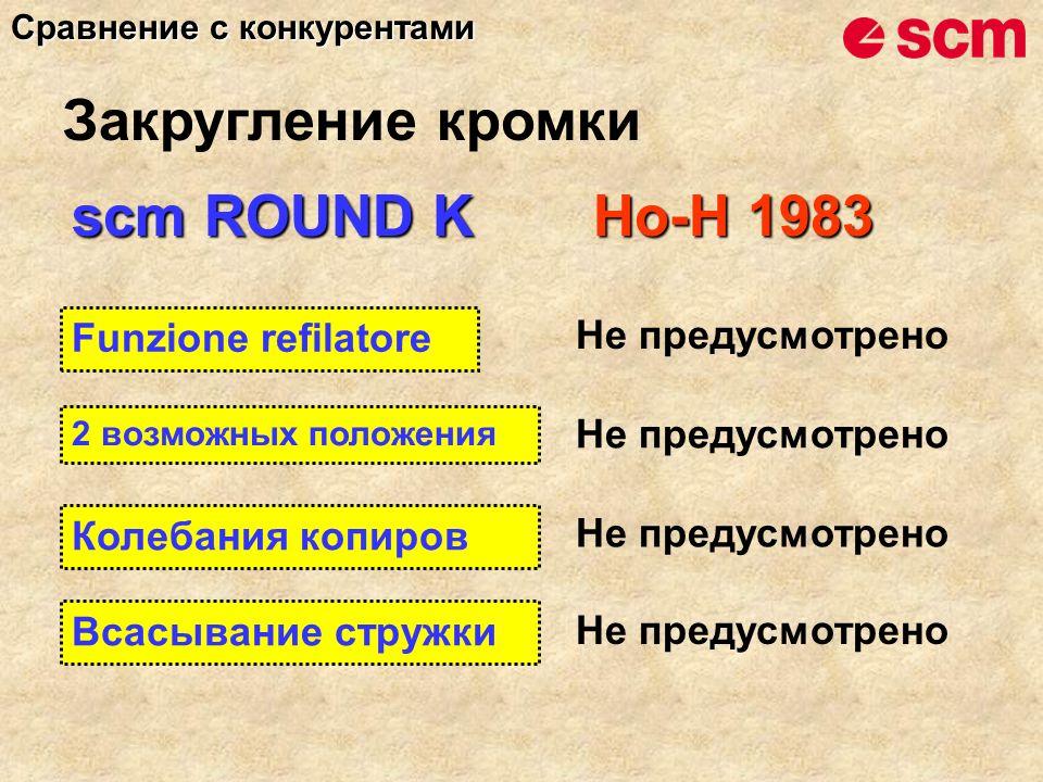 scm ROUND K Ho-H 1983 Funzione refilatore Не предусмотрено 2 возможных положения Не предусмотрено Колебания копиров Не предусмотрено Всасывание стружк