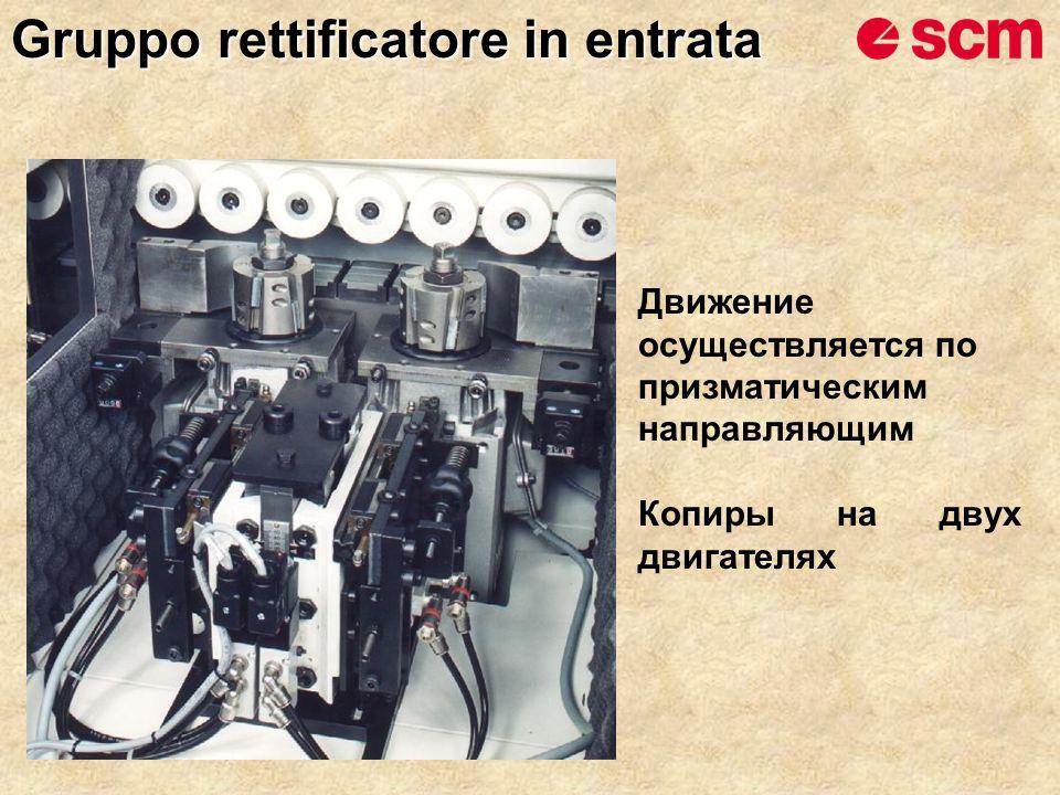 Движение осуществляется по призматическим направляющим Копиры на двух двигателях Gruppo rettificatore in entrata