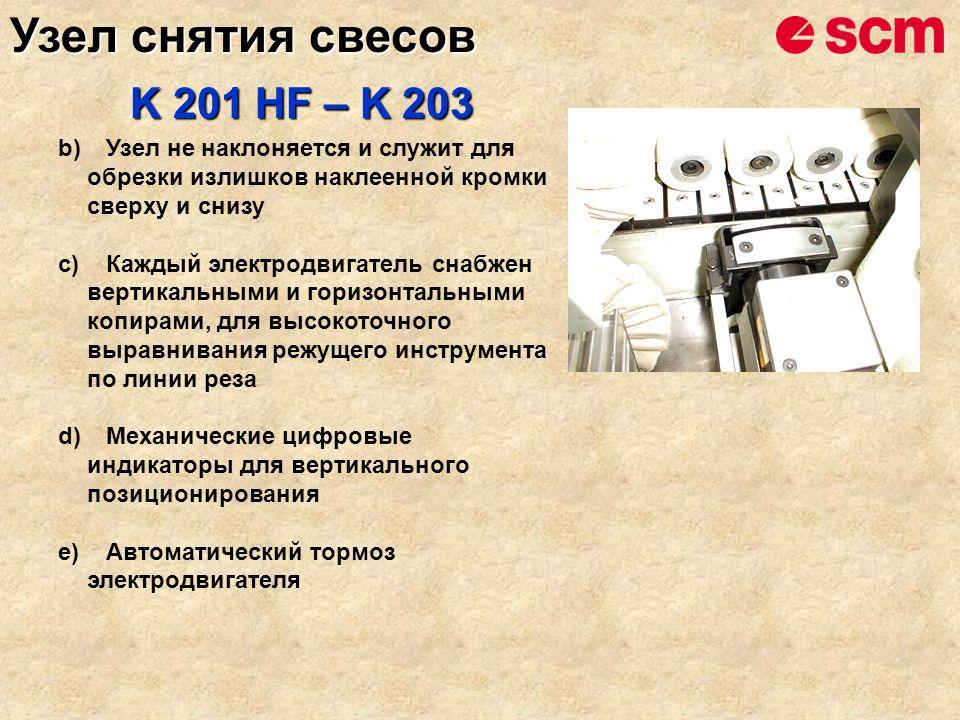 b)Узел не наклоняется и служит для обрезки излишков наклеенной кромки сверху и снизу c)Каждый электродвигатель снабжен вертикальными и горизонтальными копирами, для высокоточного выравнивания режущего инструмента по линии реза d)Механические цифровые индикаторы для вертикального позиционирования e)Автоматический тормоз электродвигателя K 201 HF – K 203 Узел снятия свесов