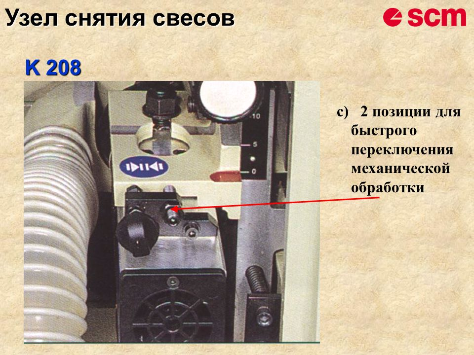 c)2 позиции для быстрого переключения механической обработки K 208 Узел снятия свесов