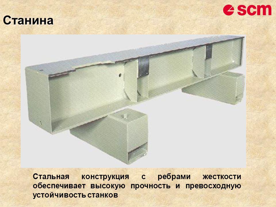 Станина Стальная конструкция с ребрами жесткости обеспечивает высокую прочность и превосходную устойчивость станков