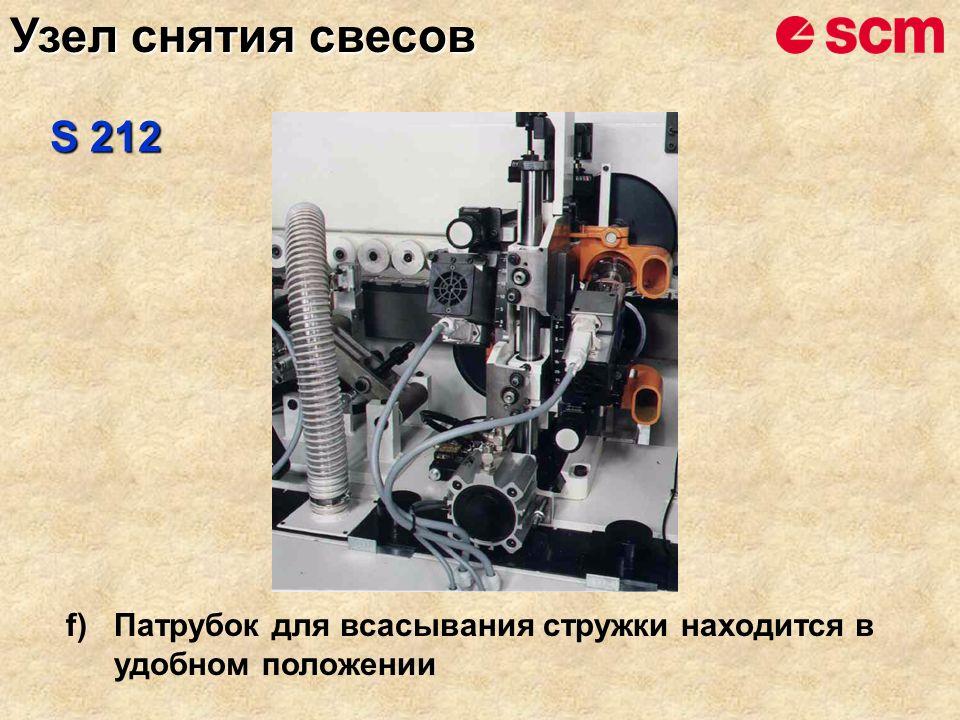 f)Патрубок для всасывания стружки находится в удобном положении S 212 Узел снятия свесов