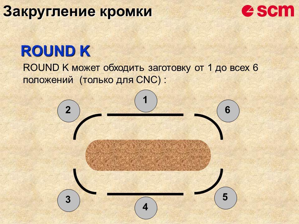 ROUND K может обходить заготовку от 1 до всех 6 положений (только для CNC) : 1 6 5 4 2 3 ROUND K Закругление кромки