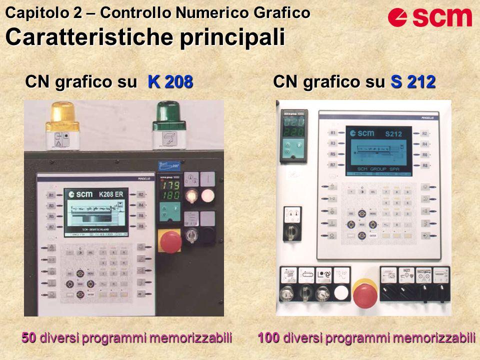 CN grafico su S 212 CN grafico su K 208 100 diversi programmi memorizzabili 50 diversi programmi memorizzabili Capitolo 2 – Controllo Numerico Grafico Caratteristiche principali