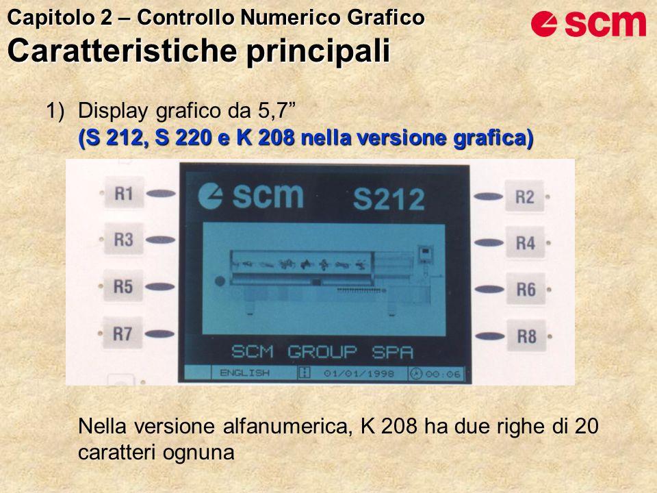(S 212, S 220 e K 208 nella versione grafica) 1)Display grafico da 5,7 (S 212, S 220 e K 208 nella versione grafica) Nella versione alfanumerica, K 208 ha due righe di 20 caratteri ognuna Capitolo 2 – Controllo Numerico Grafico Caratteristiche principali