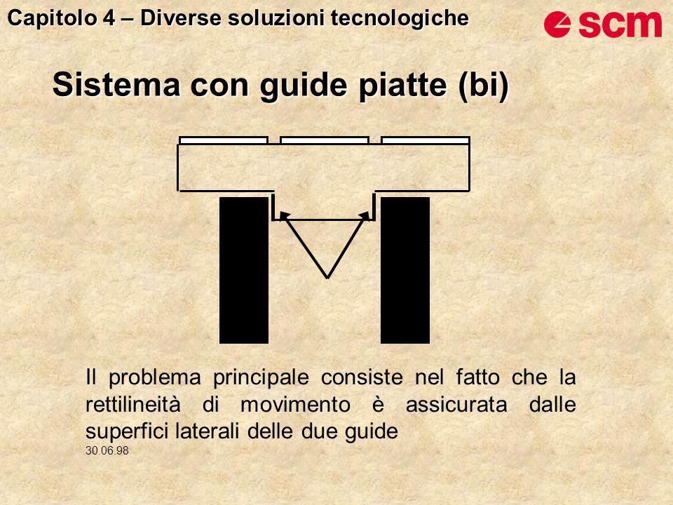 Sistema con guide piatte (bi) Il problema principale consiste nel fatto che la rettilineità di movimento è assicurata dalle superfici laterali delle due guide 30.06.98 Capitolo 4 – Diverse soluzioni tecnologiche