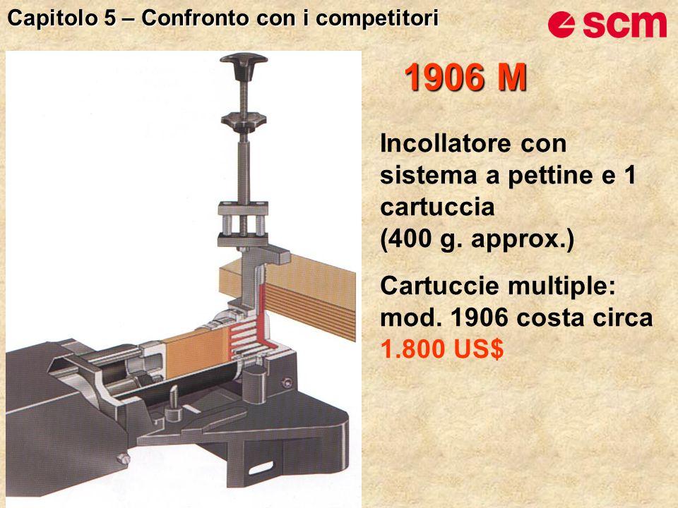 1906 M Incollatore con sistema a pettine e 1 cartuccia (400 g. approx.) Cartuccie multiple: mod. 1906 costa circa 1.800 US$ Capitolo 5 – Confronto con