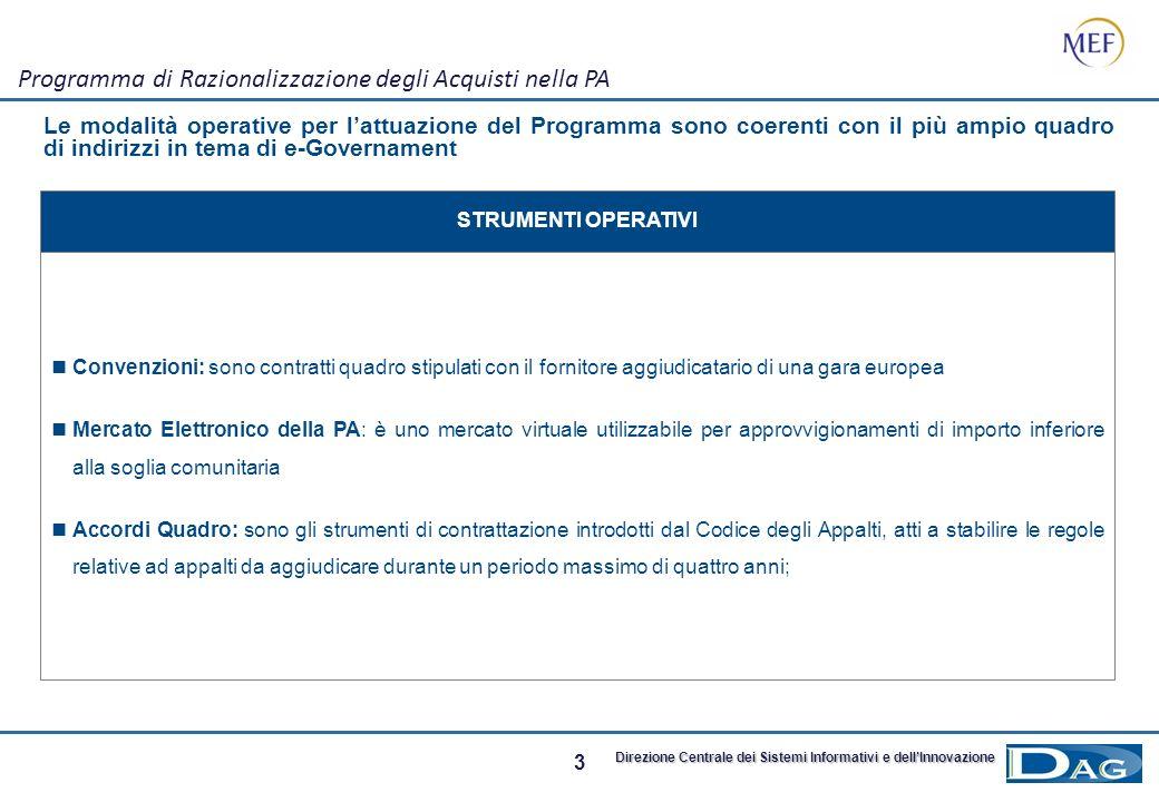 2 Direzione Centrale dei Sistemi Informativi e dellInnovazione Programma di Razionalizzazione degli Acquisti nella PA Il Programma per la Razionalizza