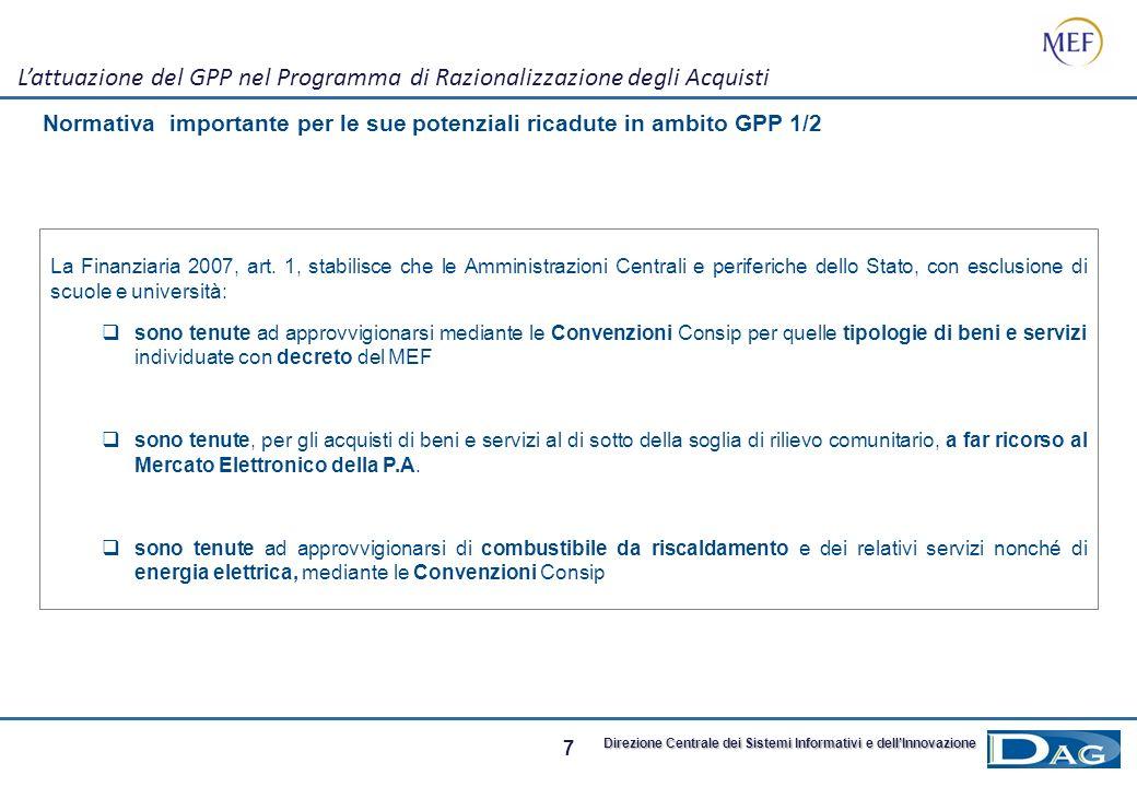 7 Direzione Centrale dei Sistemi Informativi e dellInnovazione Normativa importante per le sue potenziali ricadute in ambito GPP 1/2 Lattuazione del GPP nel Programma di Razionalizzazione degli Acquisti La Finanziaria 2007, art.
