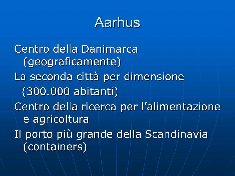 Aarhus Centro della Danimarca (geograficamente) La seconda città per dimensione (300.000 abitanti) (300.000 abitanti) Centro della ricerca per lalimen