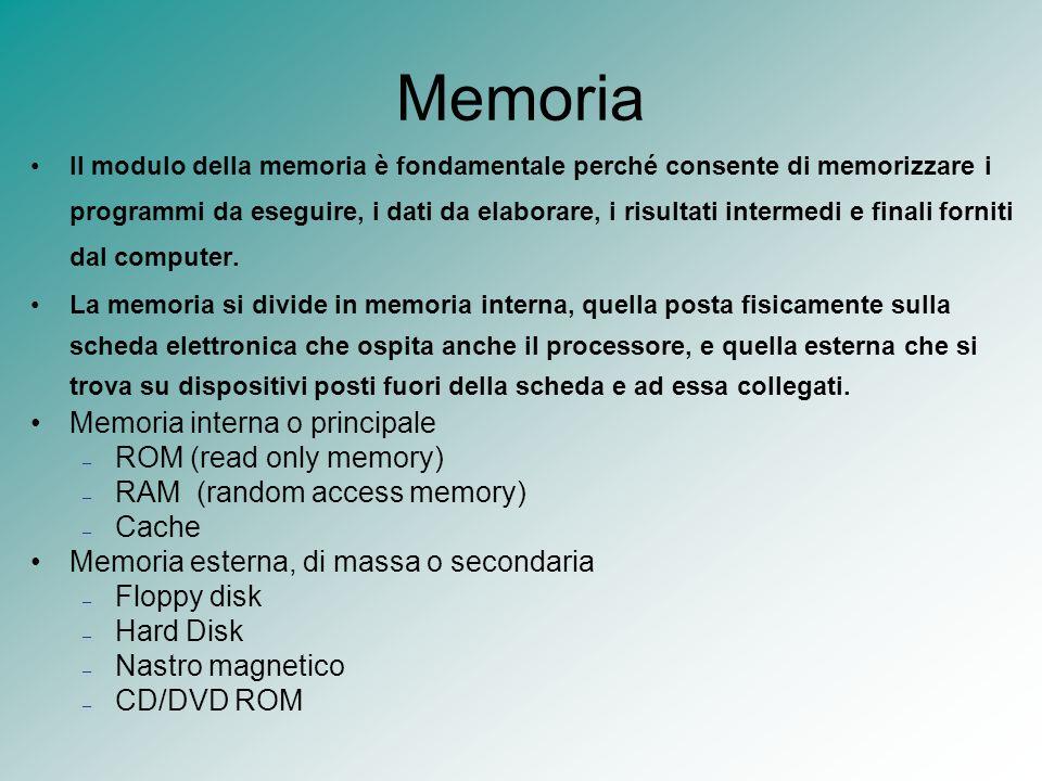 Memoria Il modulo della memoria è fondamentale perché consente di memorizzare i programmi da eseguire, i dati da elaborare, i risultati intermedi e fi
