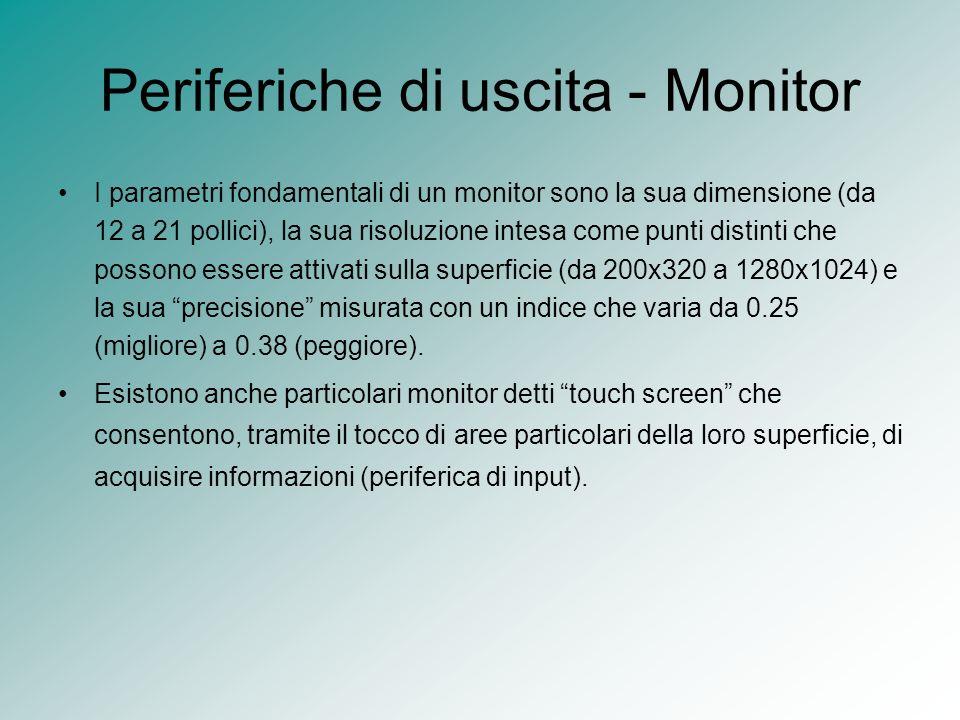 Periferiche di uscita - Monitor I parametri fondamentali di un monitor sono la sua dimensione (da 12 a 21 pollici), la sua risoluzione intesa come pun