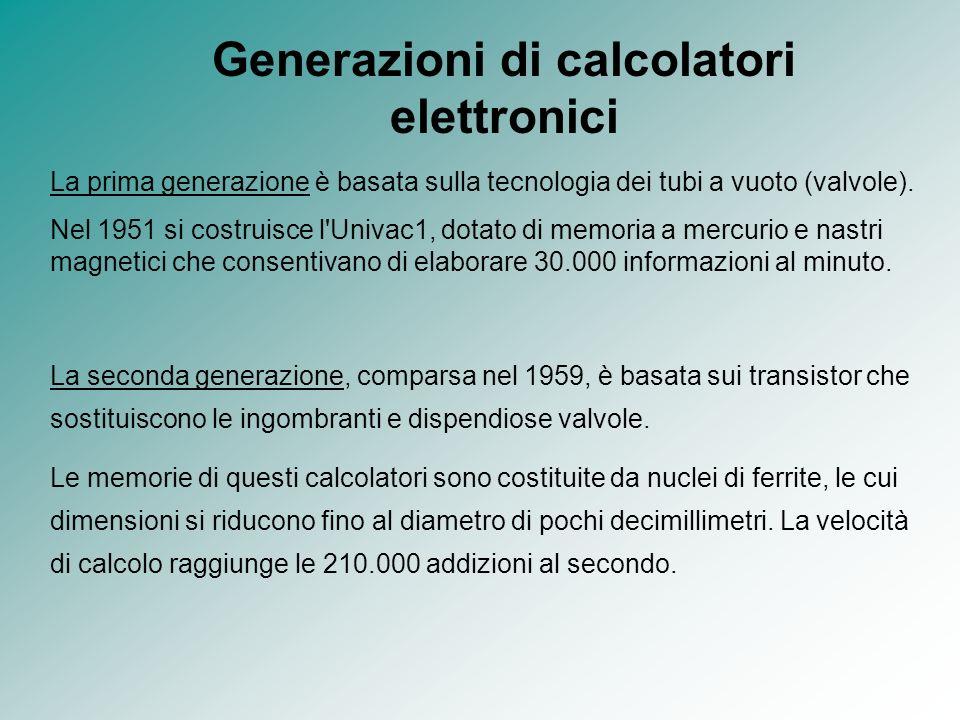 Generazioni di calcolatori elettronici La prima generazione è basata sulla tecnologia dei tubi a vuoto (valvole). Nel 1951 si costruisce l'Univac1, do