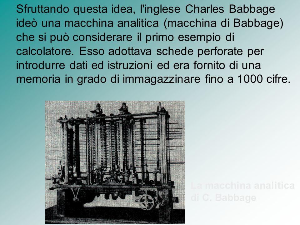Sfruttando questa idea, l'inglese Charles Babbage ideò una macchina analitica (macchina di Babbage) che si può considerare il primo esempio di calcola