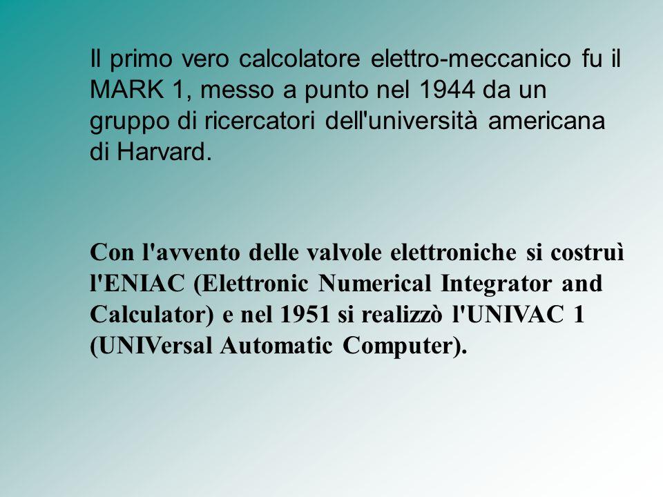 Il primo vero calcolatore elettro-meccanico fu il MARK 1, messo a punto nel 1944 da un gruppo di ricercatori dell'università americana di Harvard. Con