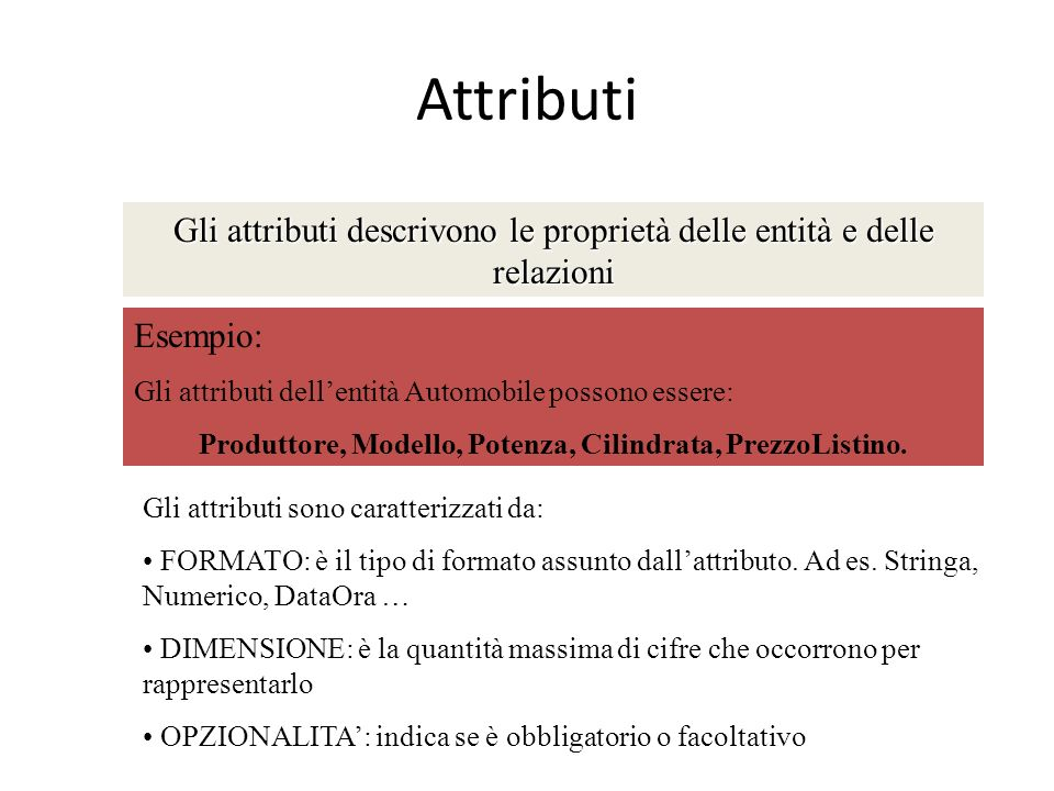Attributi Gli attributi descrivono le proprietà delle entità e delle relazioni Esempio: Gli attributi dellentità Automobile possono essere: Produttore
