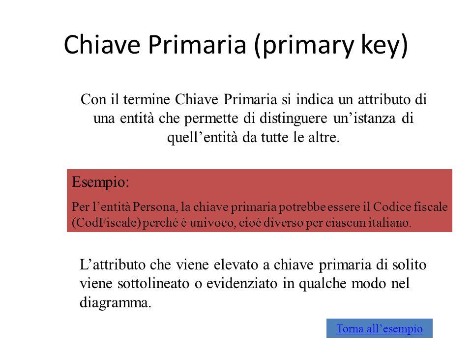 Chiave Primaria (primary key) Con il termine Chiave Primaria si indica un attributo di una entità che permette di distinguere unistanza di quellentità