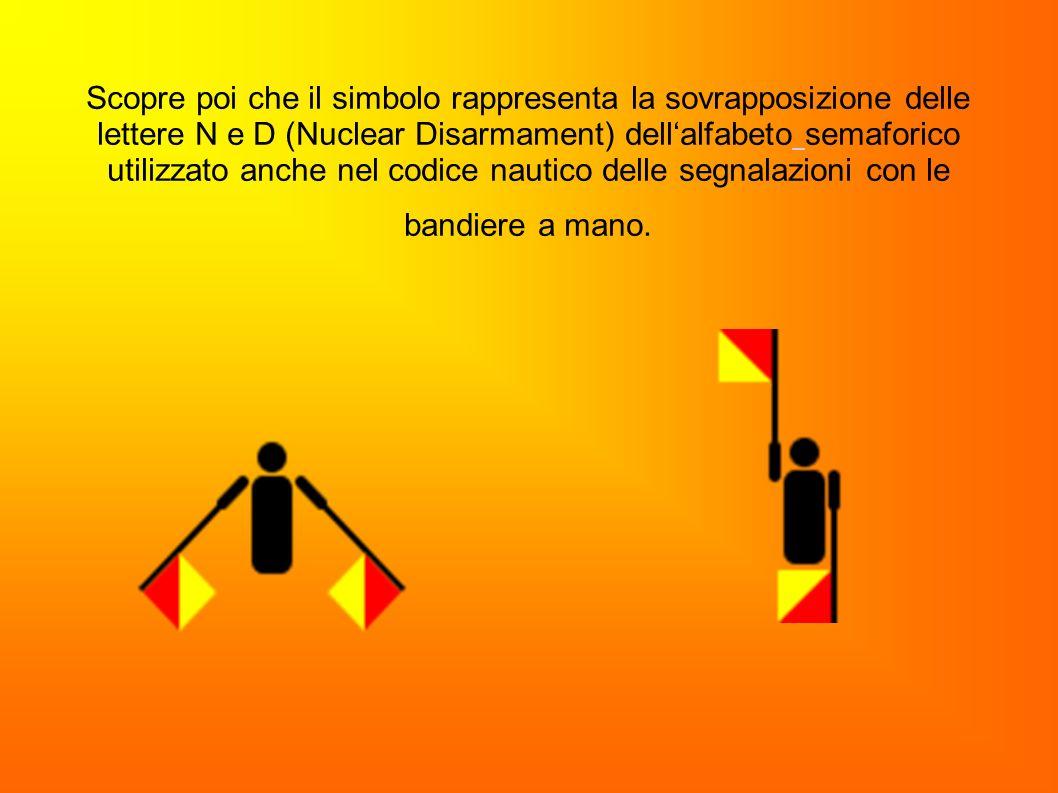 Scopre poi che il simbolo rappresenta la sovrapposizione delle lettere N e D (Nuclear Disarmament) dellalfabeto semaforico utilizzato anche nel codice
