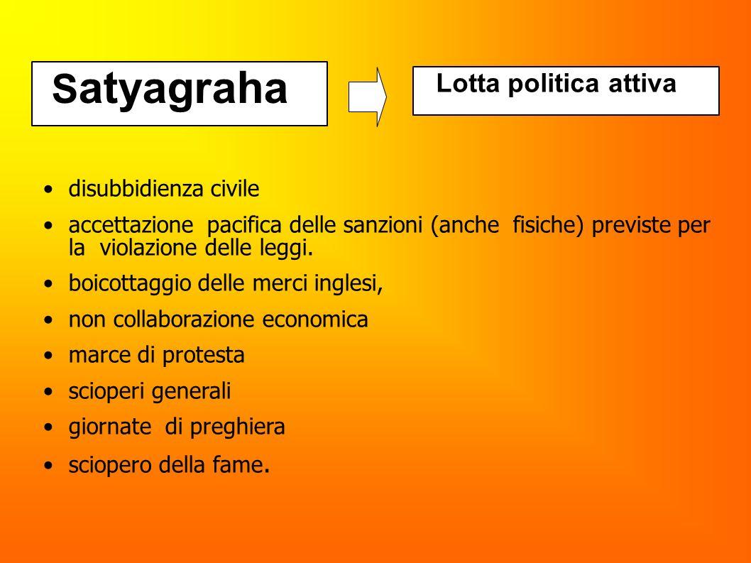 S atyagraha Lotta politica attiva disubbidienza civile accettazione pacifica delle sanzioni (anche fisiche) previste per la violazione delle leggi. bo