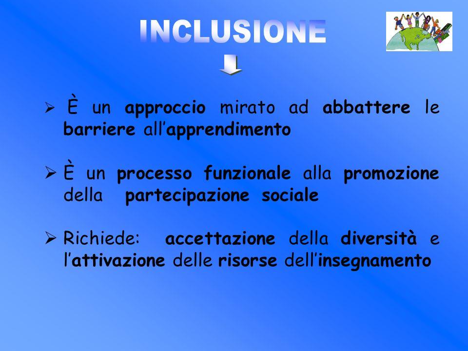 È un approccio mirato ad abbattere le barriere allapprendimento È un processo funzionale alla promozione della partecipazione sociale Richiede: accett